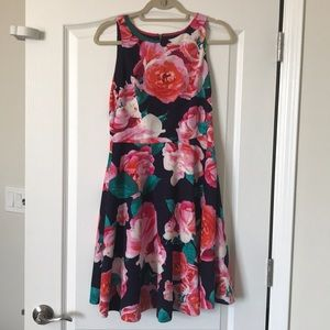 Floral Eliza J navy and pink dress